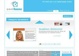 160 verschiedene Digital Signage Content-Kanäle bei contboxx.com